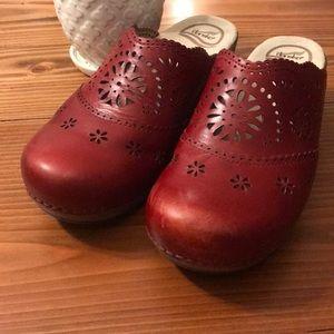Dansko red slip on clog shoes